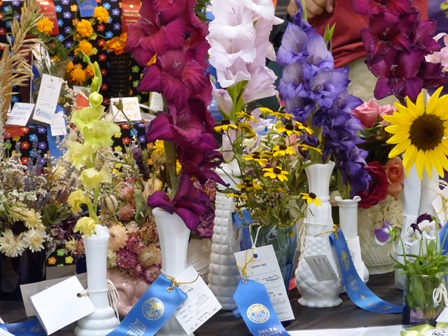 Flower Competition in Heritage Hall at Delta County Fair.